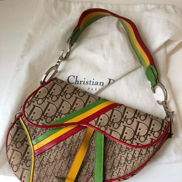 a5190180622 Dior Bags | Authentic Christian Rasta Saddle Bag | Poshmark